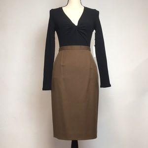 Vintage Brown Wool Pencil Skirt
